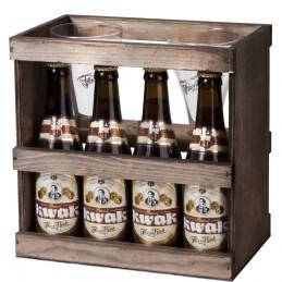 Coffret bois bière Belge Kwak 4 bts 33 cl + 1 verre Kwak duo