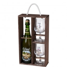 Coffret bois bière Belge Karméliet Triple 1 Bte 75 cl + 2 verres 25 cl