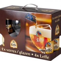 Coffret Leffe 4 Bts + 2 Verres - Bière Belge