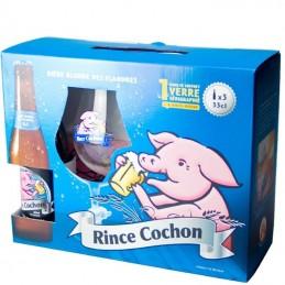 Coffret Rince Cochon 3 Bts / 1 Verre + Sous bocks - Bière Belge