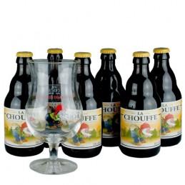Lot de 6 bières Chouffe blonde 33 cl + 1 verre. Bière de saveur de la brasserie duvel