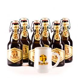 Lot de 6 bières Barbar blonde + 1 verre à bière .