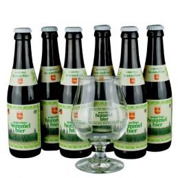 Lot de 6 bouteilles de bière Hommelbier + 1 verre. Bière de saveur