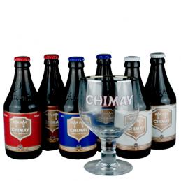 Lot de 6 bouteilles de bières Trappiste Chimay + 1 verre