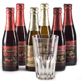 Lot de 6 bières de la Brasserie Lindeman's + 1 verre