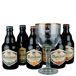 Lot de 6 bouteilles de bières de l'Abbaye de Maredsous + 1 verre