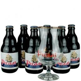 Lot de 6 bouteilles de bière Piraat + 1 verre. Brasserie Van Steeberge