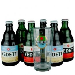 Lot de 6 bouteilles de bière Vedett + 1 verre