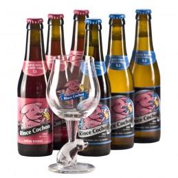 Lot de 6 bouteilles de Rince Cochon + 1 verre. Bière de saveur