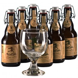 Lot de 6 bouteilles de bière Quintine. Bière de saveur de la Brasserie des Géants