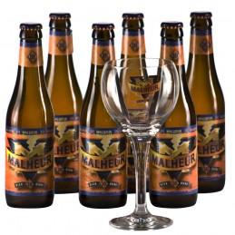 Lot de 6 bouteille de bière Malheur + 1 verre à bière. Bière de saveur de la Brasserie De Landtsheer