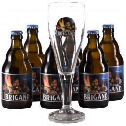 Lot 6 bouteilles de bière Brigand + 1 verre. Bière de saveur de la Brasserie Van Honsebrouck