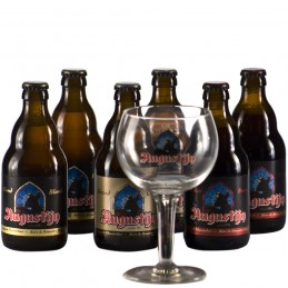 Lot de 6 bouteilles de bière Augustijn + 1 verre. Bière de saveur de la Brasserie Van Steenberge